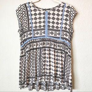 THML Boho tunic black white pattern w/blue trim